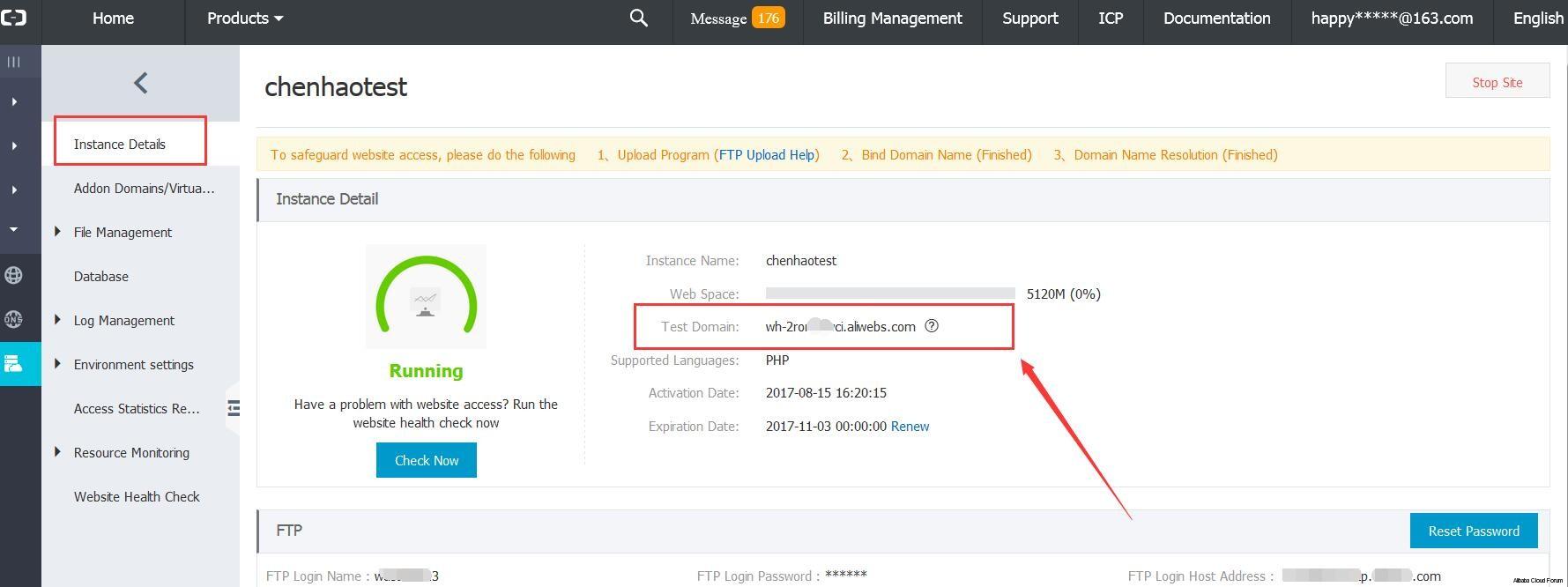 Where is Temporary Domain value - Alibaba Cloud Developer